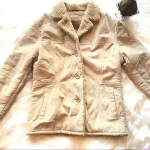 Guess Women's Leather Suede Jacket Sherpa Lining